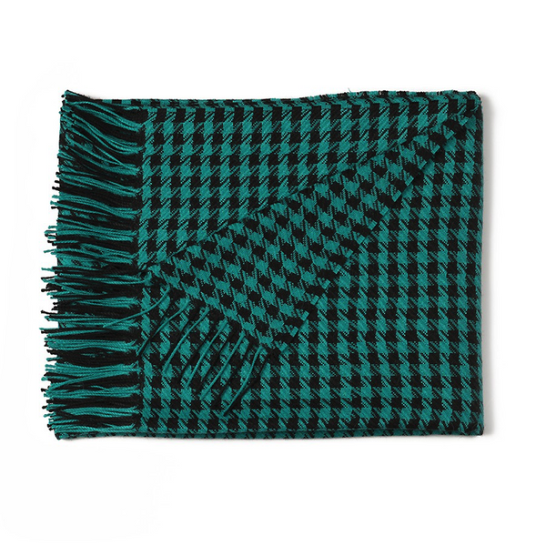 ALPACA PIED DE POULE THROW EMERALD