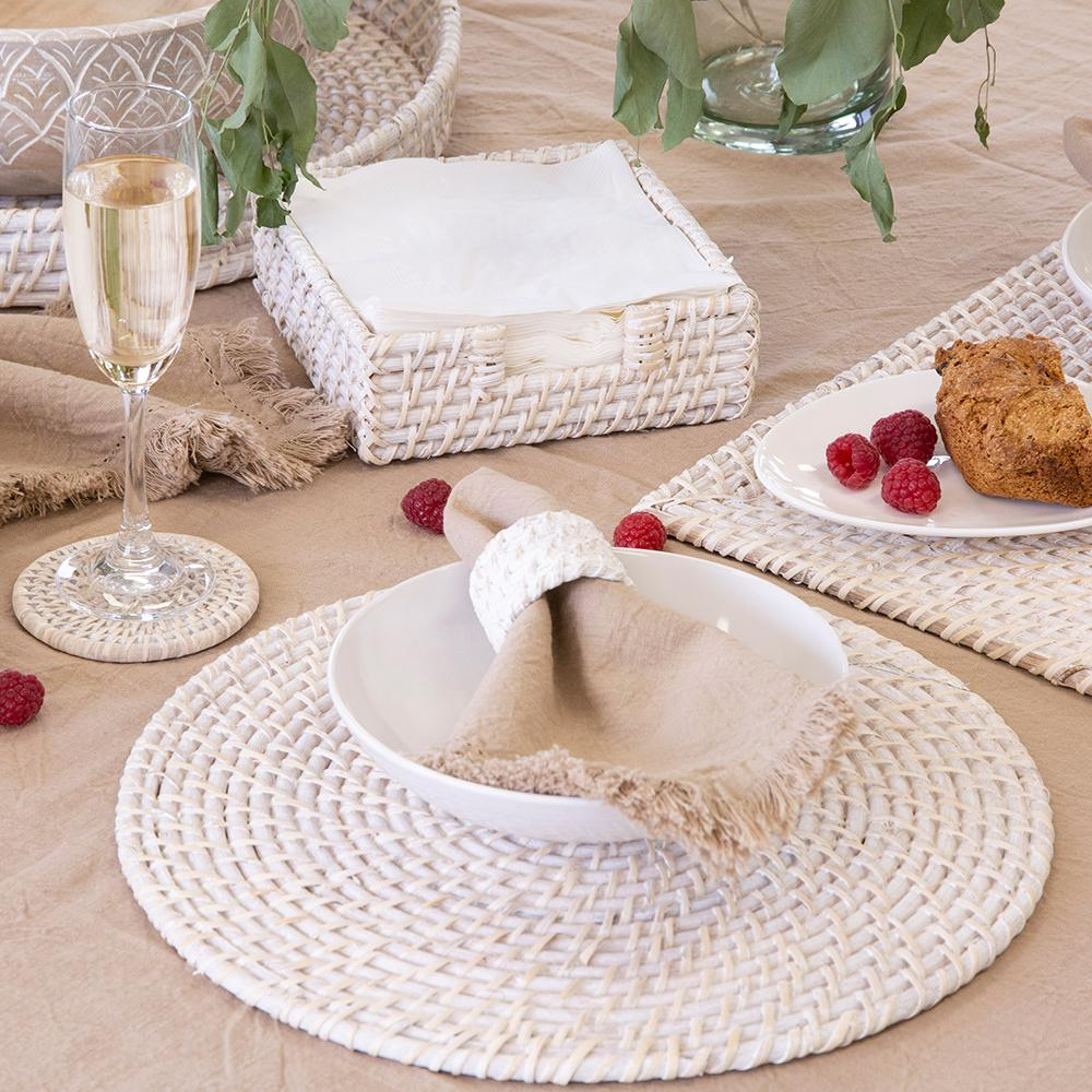 PACIFICA RATTAN PLACEMAT 35CM DIAMETER WHITE WASH - Set of Two