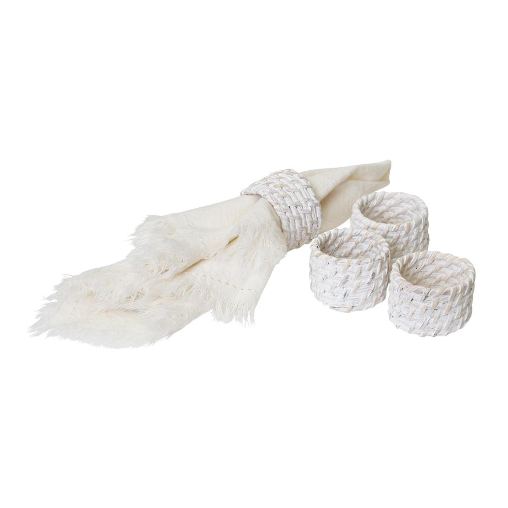 PACIFICA RATTAN NAPKIN RING WHITE WASH - Set of Four