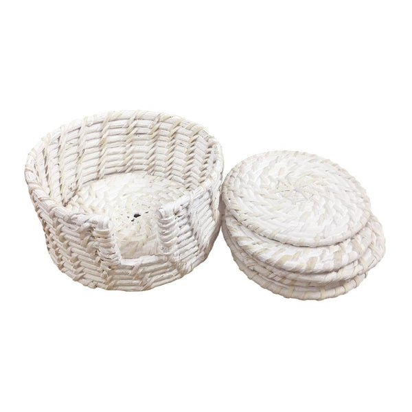 PACIFICA RATTAN COASTER WITH HOLDER - Set of Six