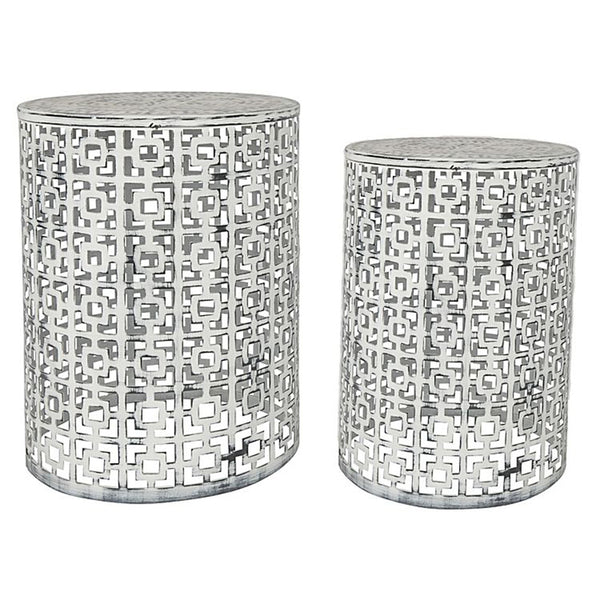 TEMARA STOOL STANDS WHITE WASH - Set of Two