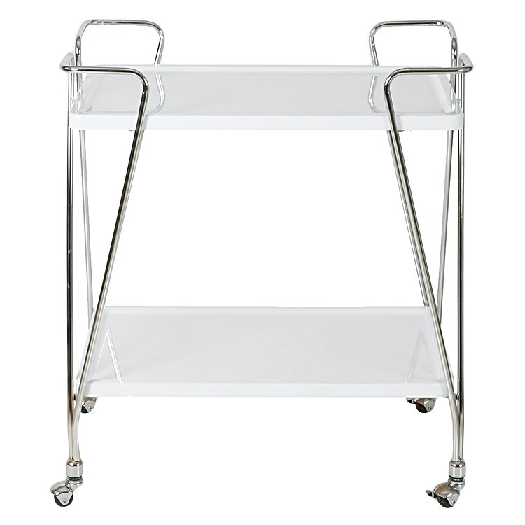 SCANDI TWO LEVEL TROLLEY CHROME WHITE