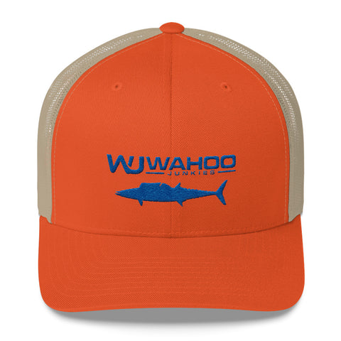 Embroidered Orange/Blue Wahoo Junkies Trucker Hat