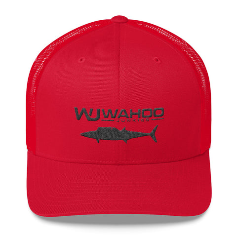 Embroidered Wahoo Junkies Red/Black Trucker Hat