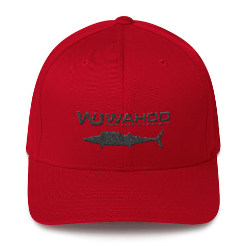 Embroidered Wahoo Junkies Red/Black Flexfit Hat