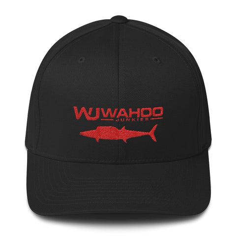 Black/Red Wahoo Junkies Flexfit Hat