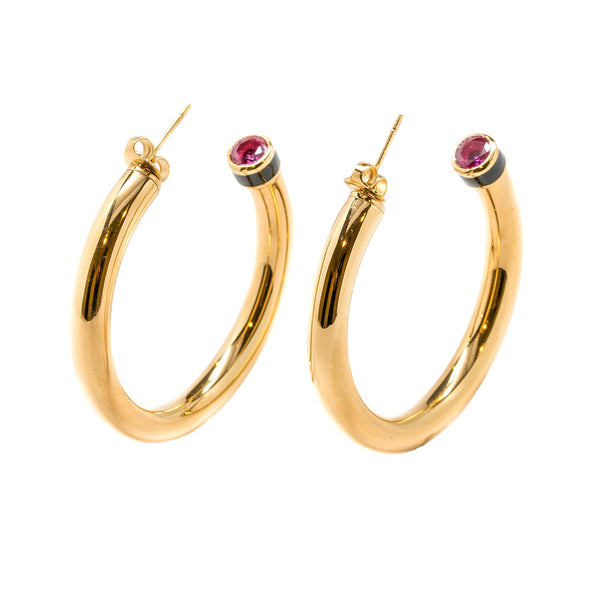 Artemis Fuchsia Black Enamel Hollow Hoop Earrings Gold