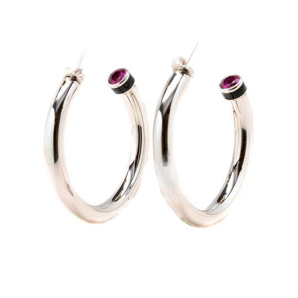 Artemis Fuchsia Black Enamel Hollow Hoop Earrings Rhodium