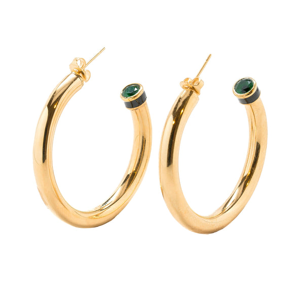 Artemis Green Emerald Black Enamel Hollow Hoop Earrings Gold