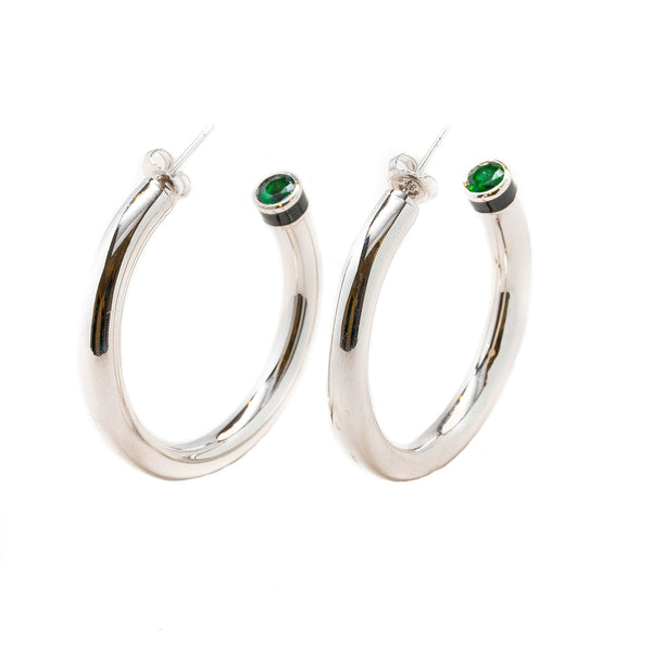 Artemis Green Emerald Black Enamel Hollow Hoop Earrings Rhodium
