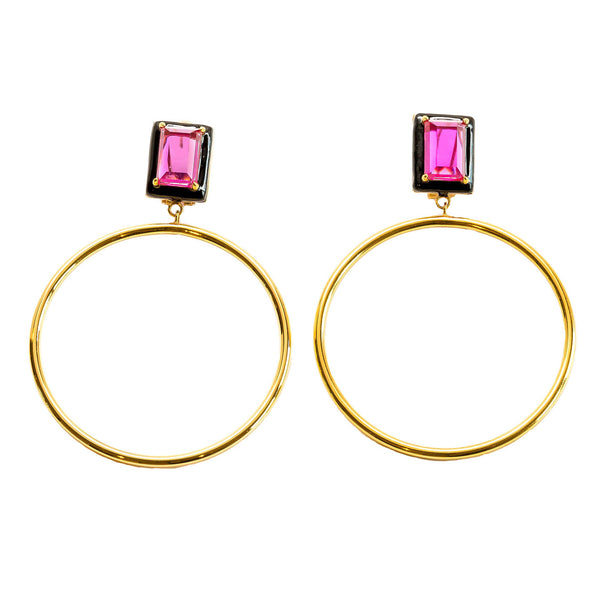 Athena Fuchsia Black Enamel Large Dangle Hoop Earrings Gold