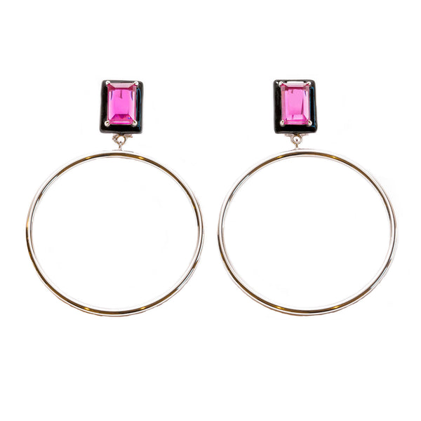 Athena Fuchsia Black Enamel Large Dangle Hoop Earrings Rhodium