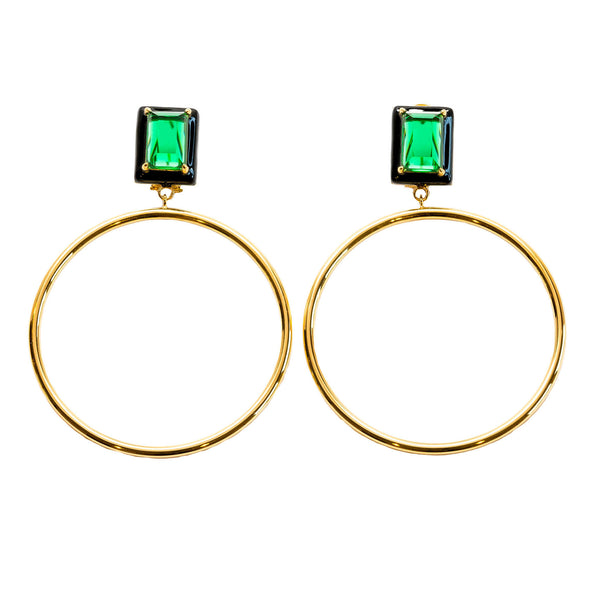 Athena Green Emerald Black Enamel Large Dangle Hoop Earrings Gold