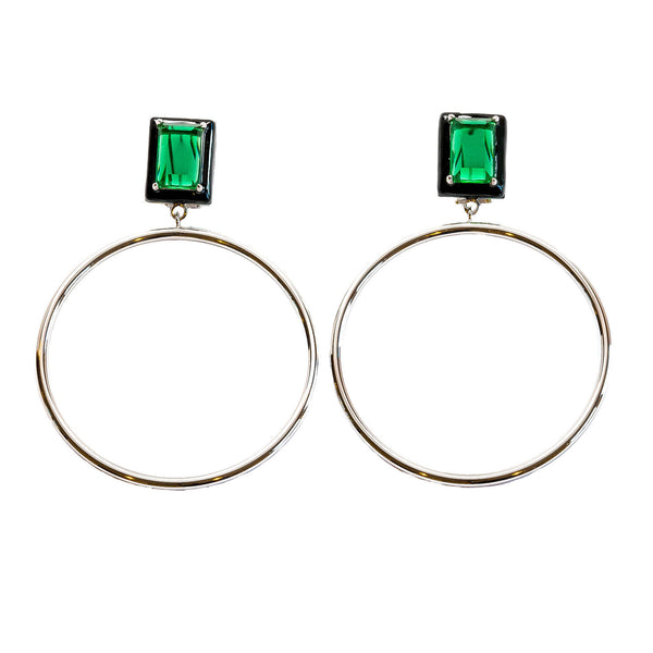 Athena Green Emerald Black Enamel Large Dangle Hoop Earrings Rhodium