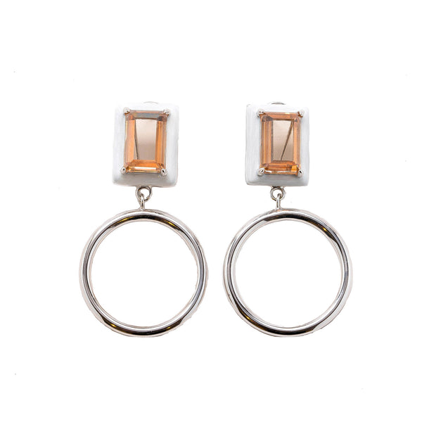 Gaia Champagne Citrine Pearl Enamel Small Dangle Hoop Earrings Rhodium