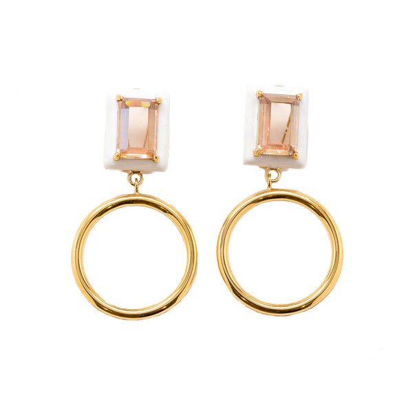 Gaia Champagne Citrine Pearl Enamel Small Dangle Hoop Earrings Gold