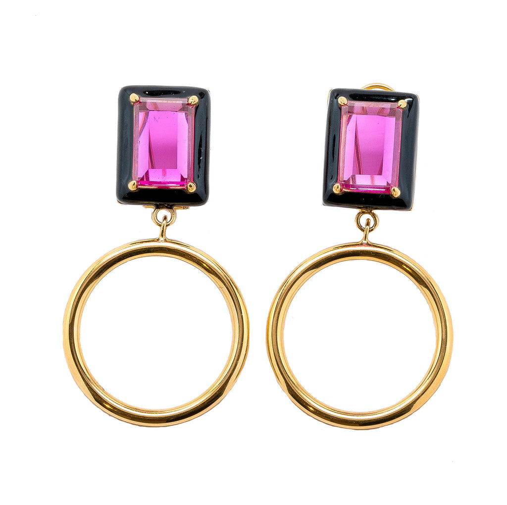 Gaia Fuchsia Black Enamel Small Dangle Hoop Earrings Gold