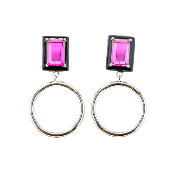 Gaia Fuchsia Black Enamel Small Dangle Hoop Earrings Rhodium
