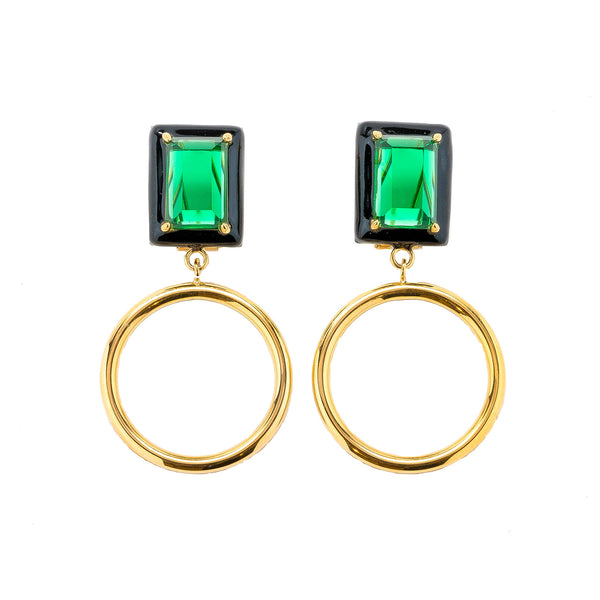Gaia Emerald Black Enamel Small Dangle Hoop Earrings Gold
