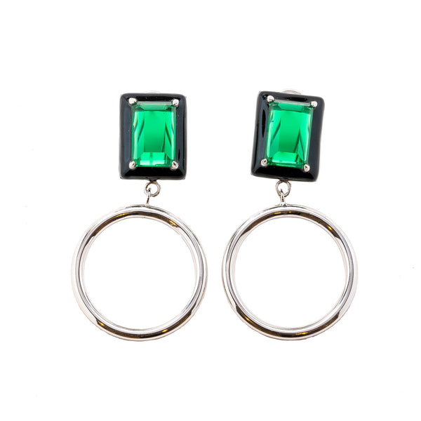 Gaia Emerald Black Enamel Small Dangle Hoop Earrings Rhodium