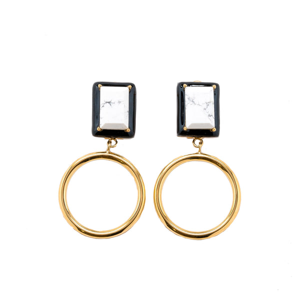 Gaia Marble Black Enamel Small Dangle Hoop Earrings Gold