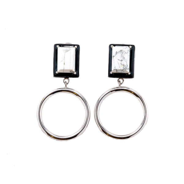 Gaia Marble Black Enamel Small Dangle Hoop Earrings Rhodium