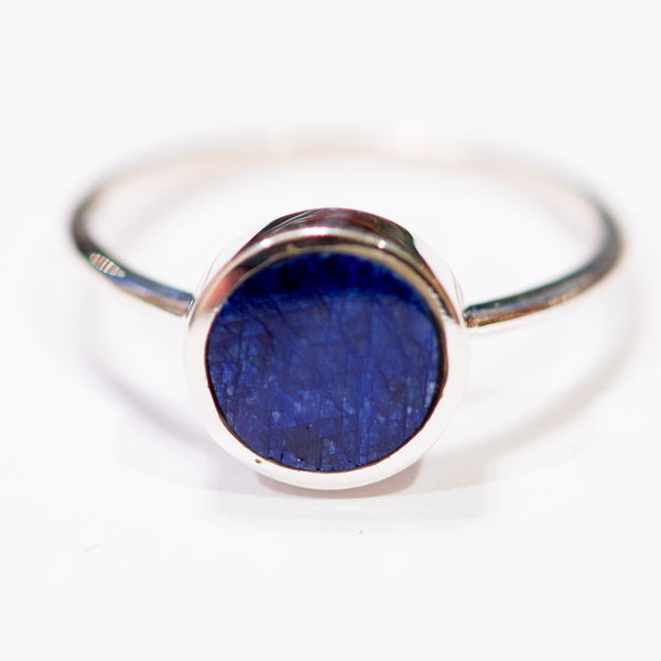Sterling Silver Natural Blue Sapphire Solitaire Ring