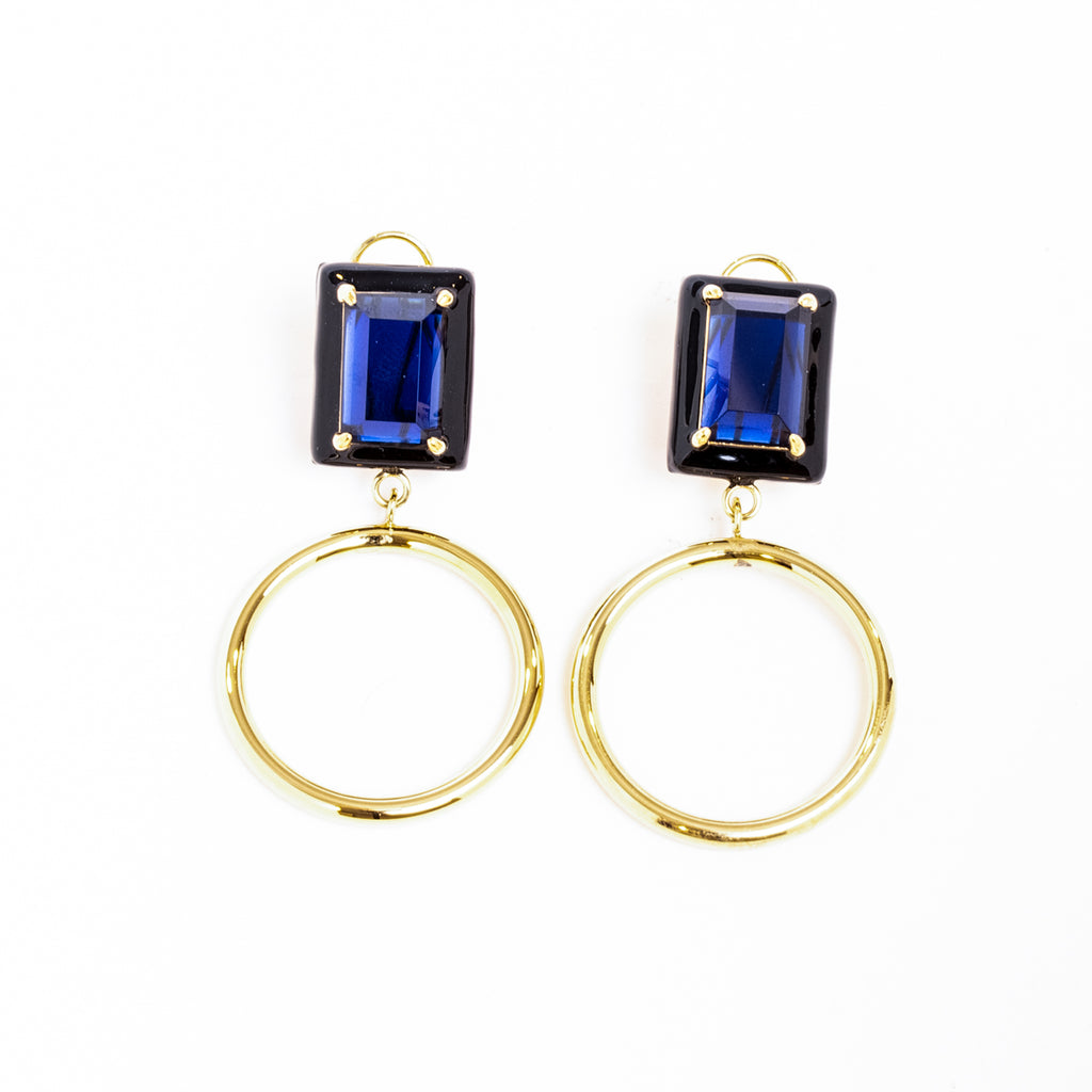 Gaia Blue Sapphire Black Enamel Small Dangle Hoop Earrings Gold