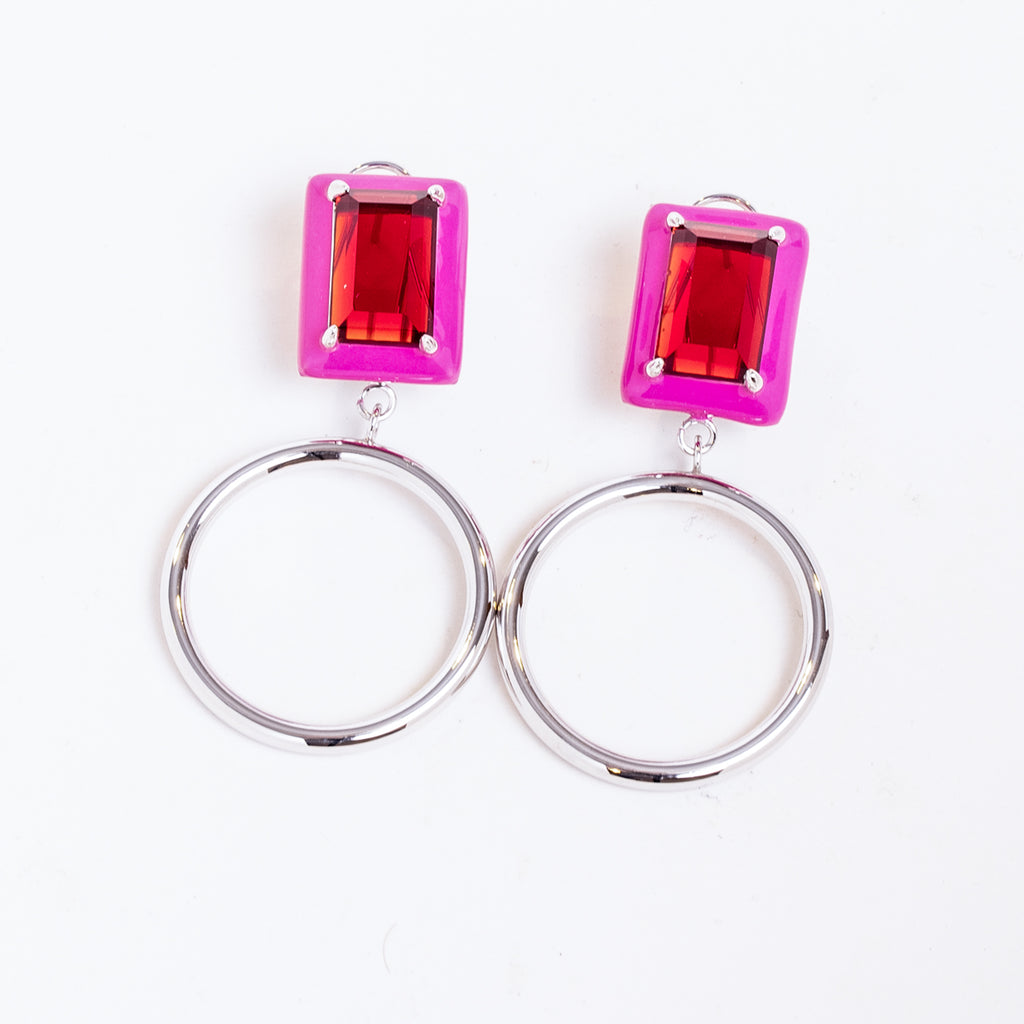 Gaia Red Garnet Pink Enamel Small Dangle Hoop Earrings Rhodium