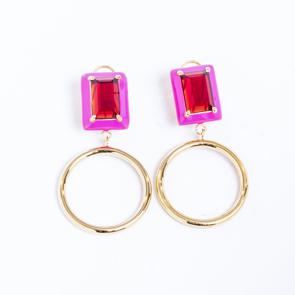 Gaia Red Garnet Pink Enamel Small Dangle Hoop Earrings Gold