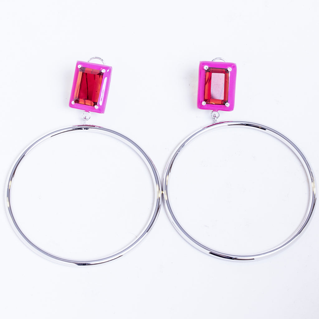 Athena Red Garnet Pink Enamel Large Dangle Hoop Earrings Rhodium