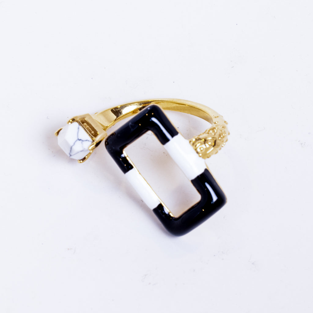 Quadangle Hematite Black and White Enamel Rectangle Statement Ring