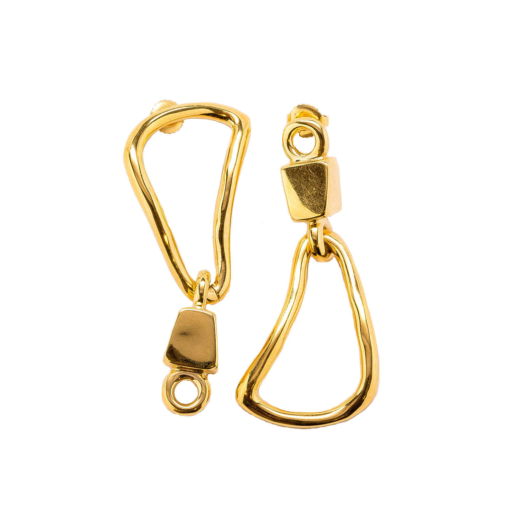 Hera Mismatched Chain Link Statement Earrings Gold