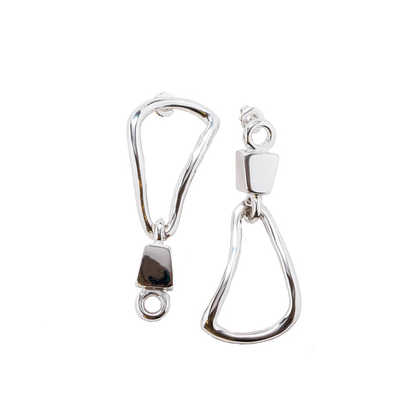Hera Mismatched Chain Link Statement Earrings Rhodium