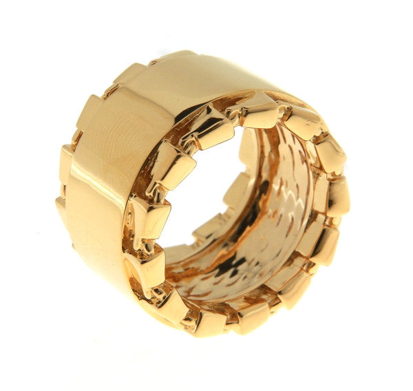 Chain Link Accent Band Statement Ring Gold - SiammPatra - 1