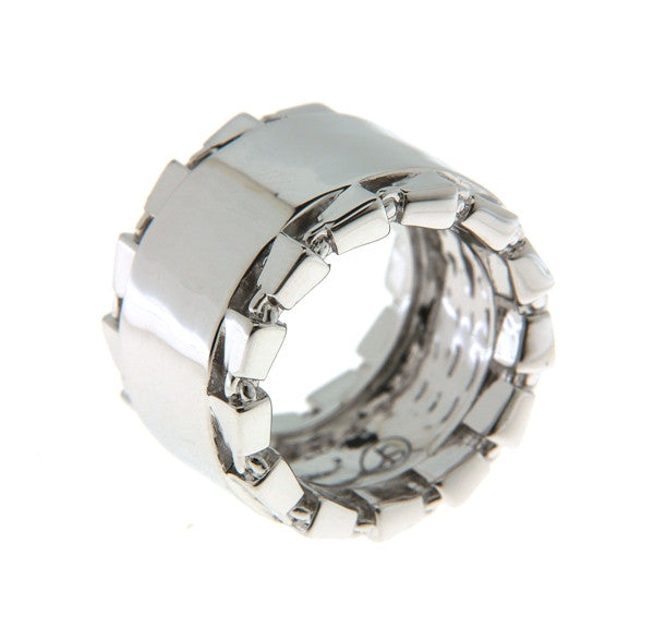 Chain Link Accent Band Statement Ring Rhodium - SiammPatra - 1