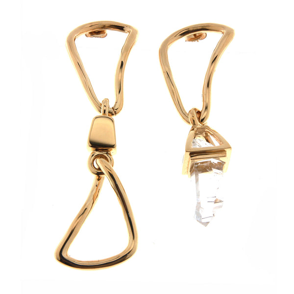 Crystal Mismatched Chain Link Statement Earrings Gold