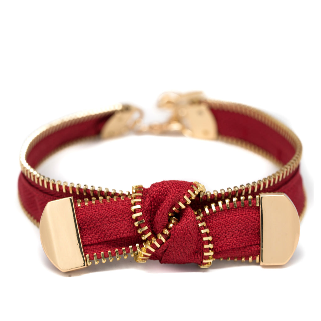 Fontage Bordeaux Zipper Choker Collar Necklace