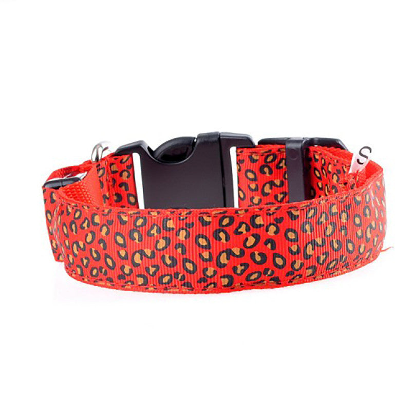 Dog Collar LED - Leopard Print
