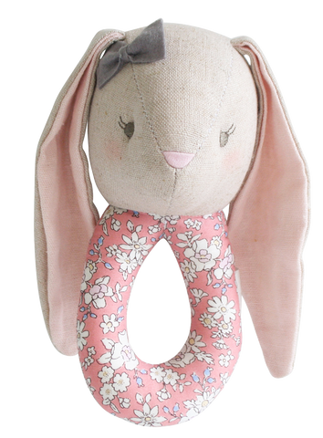Linen Pearl Bunny Grab Rattle