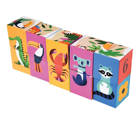 Block Puzzle & Activity Set - Colourful Jungle Creatures