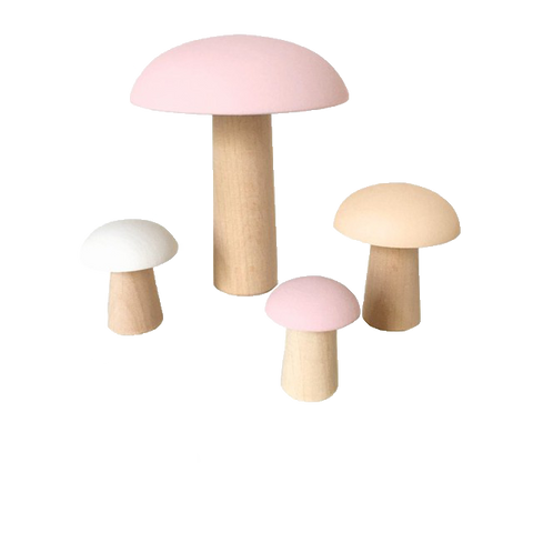 Wooden Decor Mushrooms - Blush