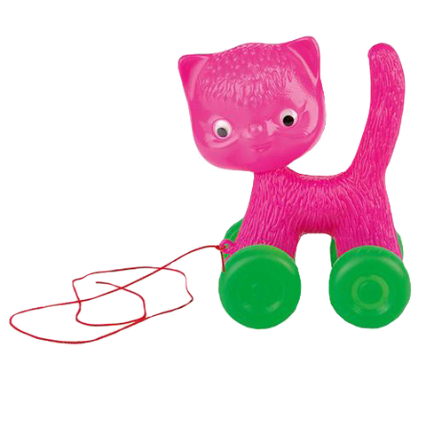 Pink Retro Pull Along Cat Toy