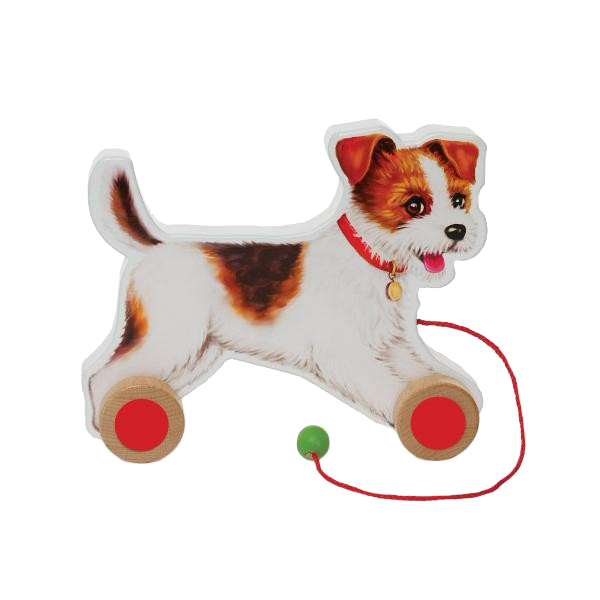 Pull Along Jack Russel Dog on Wheels