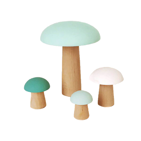 Wooden Decor Mushrooms - Teal