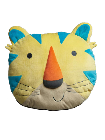 Funny Faces Yellow Tiger Head Shaped Pillow
