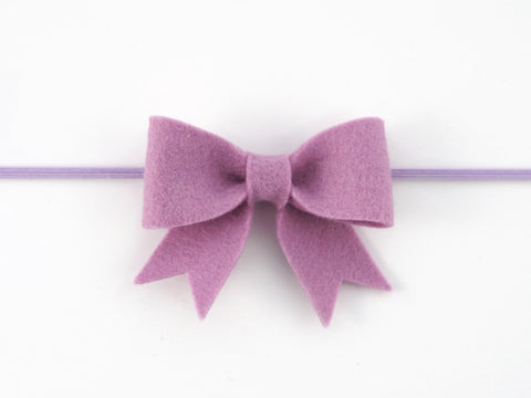 100% Wool Felt Sailor Bow Skinny Elastic Headband (WSBB)