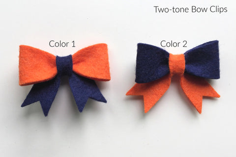 UVA Wool Blend Felt Bow Hair Clip (BHVC)