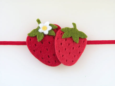 Wool Blend Felt Double Strawberry Skinny Elastic Headband (BBDB)