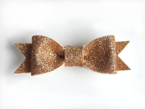 Wool Blend Felt Glitter Bow Hair Clip (BHCG)